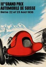 HANS THÖNI (1906-1980). IIIme GRAND PRIX AUTOMOBILE DE SUISSE. 1936. 38x27 inches, 98x68 cm. Société Polygraphique Laupen, Berne.