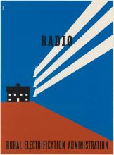 LESTER BEALL (1903-1969). RADIO / RURAL ELECTRIFICATION ADMINISTRATION. 1937. 38x28 inches, 98x73 cm.