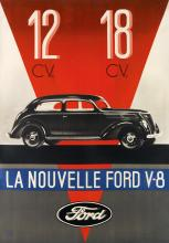 DESIGNER UNKNOWN. LA NOUVELLE FORD V - 8. Circa 1937. 36x25 inches, 93x64 cm.