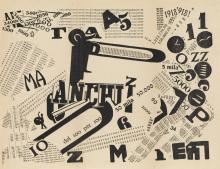 FILIPPO TOMMASO MARINETTI (1876-1944). [LES MOTS EN LIBERTÉ FUTURISTES.] Group of 4 typographic plates. 1919. Sizes vary. Edizioni Futu