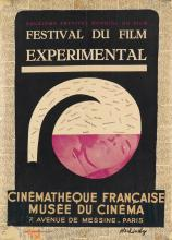 PIERRE ALECHINSKY (1927- ). FESTIVAL DU FILM EXPERIMENTAL. Mixed media collage. 1949. 22x16 inches, 37x41 cm. Laconte, Brussels.