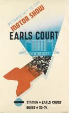 EDWARD MCKNIGHT KAUFFER (1890-1954). MOTOR SHOW / EARLS COURT. 1937. 39x24 inches, 100x62 cm. The Baynard Press, [London.]