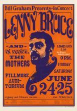 WES WILSON (1937- ). LENNY BRUCE / FILLMORE AUDITORIUM. 1966. 20x14 inches, 50x35 cm.