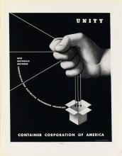 ADOLPHE MOURON CASSANDRE (1901-1968). CONTAINER CORPORATION OF AMERICA. Group of 9 print ads. Circa 1937. Each 14x10 inches, 35x27 cm.