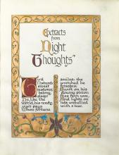 GOUDY, FREDERIC. Extracts from Night Thoughts [by] Edward Young. Illuminated Manuscript.