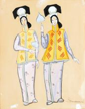 COSTUME / FASHION. Soudeikine, Serge. Group of 3 Costume Designs for The Chinese Nightingale.