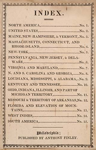 RARE POCKET ISSUE FINLEY, ANTHONY.  A New American Atlas.  Scarce pocket-issue, with 15 hand-colored maps on 14 mapsheets. 12mo, publisher's
