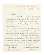 (ALASKA.) Morris, William Gouverneur. Letter describing the dire state of civil government in the Department of Alaska.