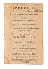 (AMERICAN REVOLUTION--PRELUDE.) The Speeches of His Excellency Governor Hutchinson, to the General Assembly of the Massachusetts-Bay.