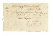 (AMERICAN REVOLUTION--1775.) Invoice for engraving Connecticut's Continental currency.