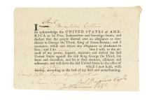 (AMERICAN REVOLUTION--1778.) Oath of allegiance signed at Valley Forge.