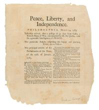 (AMERICAN REVOLUTION--1783.) Peace, Liberty, and Independence.