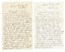 (ARIZONA.) Aumack, James. Pair of vivid letters from a soldier at what became Fort Apache.
