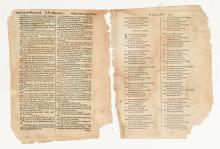 (BIBLE IN MASSACHUSETT). Pair of leaves from the first Bible printed in America.