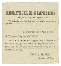 (CIVIL WAR.) Field-printed announcement of the fall of Richmond.