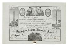 (DISTRICT OF COLUMBIA.) Certificate for a contribution to the Washington National Monument Society.