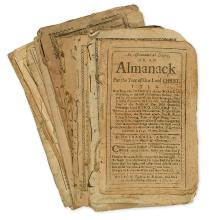 (EARLY AMERICAN IMPRINTS.) Group of early American almanacs.