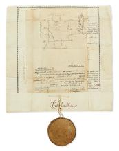(GEORGIA.) Fraudulent pine barrens deed signed by George Mathews, with seal.
