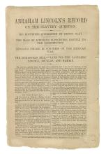 (LINCOLN, ABRAHAM.) Abraham Lincoln's Record on the Slavery Question.