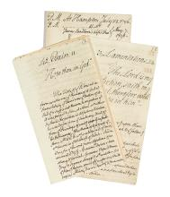 (NEW HAMPSHIRE.) [Thayer, Ebenezer.] Group of 3 manuscript sermons by a Hampton minister.
