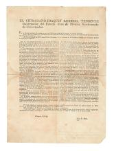 (TEXAS.) Bustamante, Anastasio; and Lucas Alamán. Unrecorded broadside printing of the notorious Law of April 6, 1830.