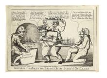 (WAR OF 1812.) Charles, William; artist and engraver. John Bull Making a New Batch of Ships to Send to the Lakes.
