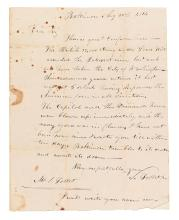 (WAR OF 1812.) Follet, Samuel, Junior. Letter describing the mood in Baltimore as the British advanced.