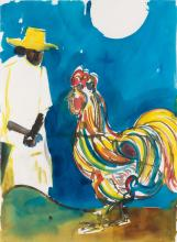 ROMARE BEARDEN (1911 - 1988) Untitled (Woman and Rooster).