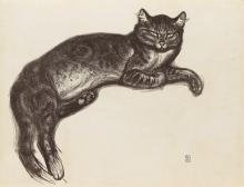 THÉOPHILE STEINLEN L'Hiver, chat sur un coussin.