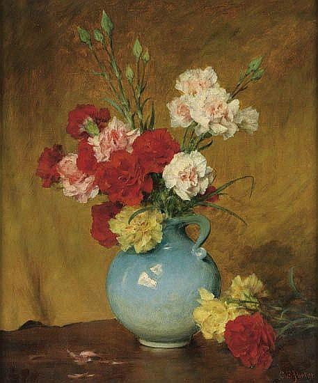 CHARLES ETHAN PORTER (1847 - 1923) Untitled (Peonies in a Blue Vase).