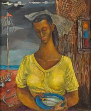 FREDERICK D. JONES (1914 - 2004 ) Untitled (Woman with a Fish).