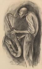 ERNIE BARNES (1938 - 2009) Study Sketch 12 (Sax Player).