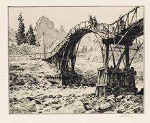 MARTIN LEWIS Bridge Near Nikko.