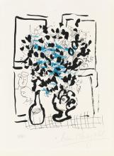MARC CHAGALL Le Bouquet noir et bleu.