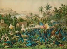 (MILITARY--SPANISH AMERICAN WAR.) The Battle of Quasimas Near Santiago. June 24th 1898. The 9th and 10th Colored Calvary in Support of