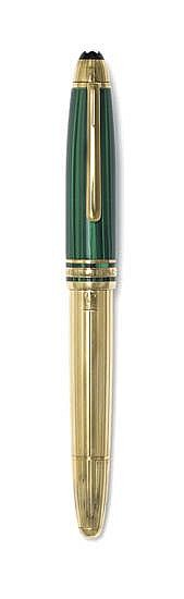 Montblanc Meisterstück Czar Nikolai I Malachite & Vermeil fountain pen and rollerball set.