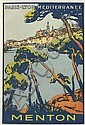 ROGER BRODERS (1883-1953). MENTON. 1923. 15x10 inches, 38x25 cm.