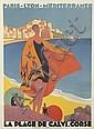 ROGER BRODERS (1883-1953). LA PLAGE DE CALVI. CORSE. 1928. 42x31 inches, 107x78 cm. Lucien Serre, Paris.