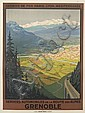 ROGER BRODERS (1883-1953). GRENOBLE / EXPOSITION INTERNATIONALE HOUILLE BLANCHE & TOURISME. 1925. 42x31 inches, 107x79 cm. Lucien Serre