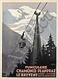 ROGER BRODERS (1883-1953). FUNICULAIRE / CHAMONIX - PLANPRAZ LE BREVENT. 1928. 42x31 inches, 108x79 cm. Lucien Serre, Paris.