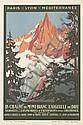 ROGER BRODERS (1883-1953). LA CHAINE DU MONT BLANC / L'AIGUILLE DU DRU. 1924. 16x10 inches, 42x27 cm. Adia, Nice.