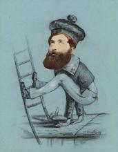 (MIXED-MEDIA) Humorous charcoal and chalk drawing of a supple sailor containing a photographic collaged element,