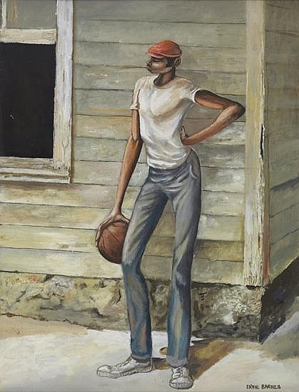 ERNIE BARNES (1938 - 2009) Untitled (Youth with Basketball).