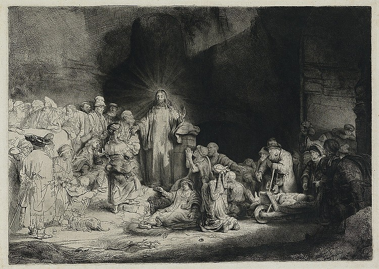 REMBRANDT VAN RIJN Christ Healing the Sick (The Hundred Guilder Print).