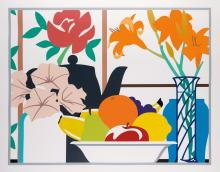 TOM WESSELMANN Still Life with Petunias, Lilies and Fruit.