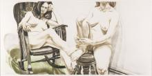PHILIP PEARLSTEIN Two Female Models on Rocker and Stool.