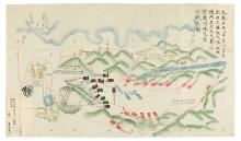 (JAPAN.) Folding manuscript military map.