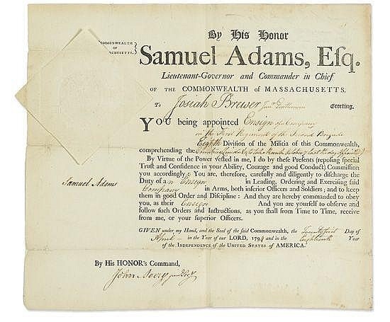 ADAMS, SAMUEL. Document Signed, as Lieutenant Governor and Commander in Chief,