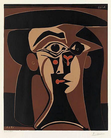 PABLO PICASSO Tête de Femme (Portrait Stylisé de Jacqueline).