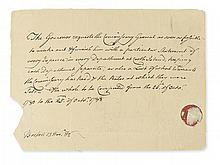 HANCOCK, JOHN. Autograph Note Signed, in the third person within the text (